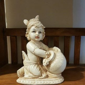 Baby Lord Krishna Statue ~ With Butter Pot